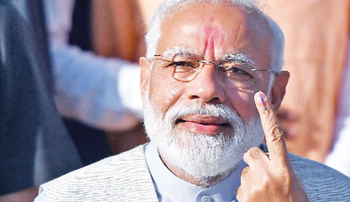 Modi casts vote, calls for national security