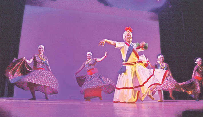 Artistes perform a dance at a cultural programme organised by the cultural wing of Embassy of Nepal