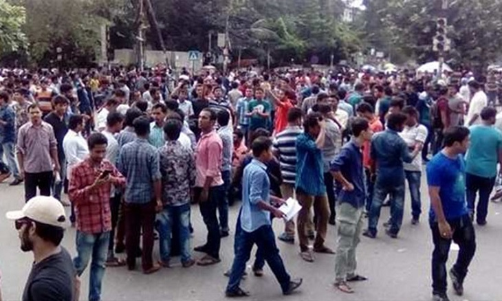 Students of seven Dhaka University affiliated colleges block road at Nilkhet