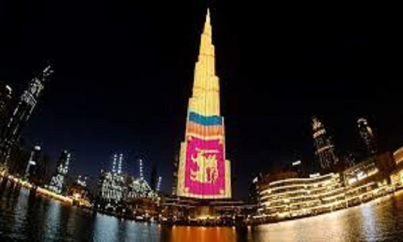 Dubai's Burj Khalifa lights up with Sri Lanka flag