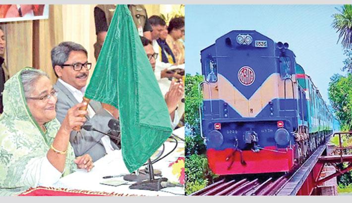 Prime Minister Sheikh Hasina inaugurates non-stop train service 'Bonolota Express'
