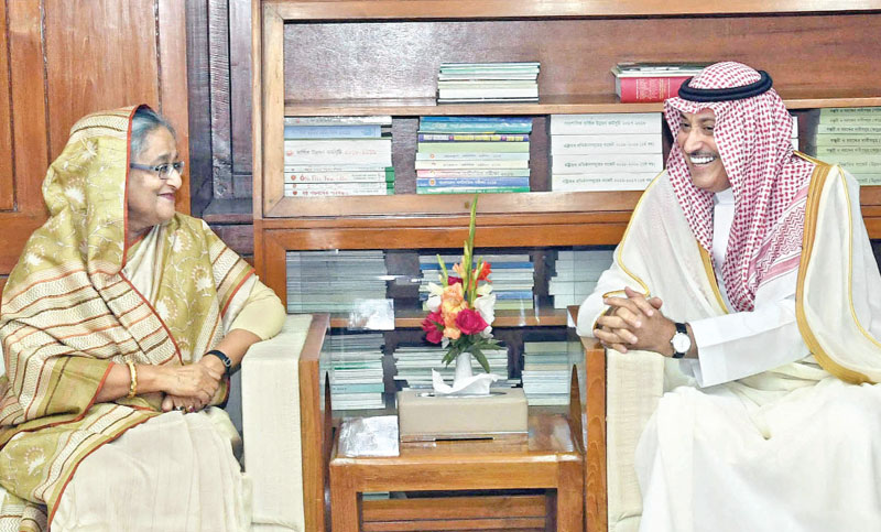 Saudi Ambassador in Dhaka Abdullah HM Al Mutairi pays a farewell call on Prime Minister Sheikh Hasina