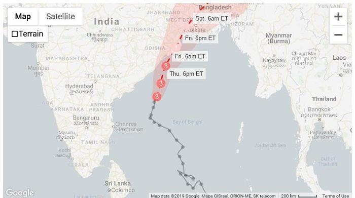 Dangerous Tropical Cyclone Fani nearing India's coast