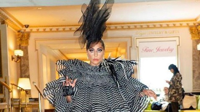 Lady Gaga counts down to Met Gala in stunning dress