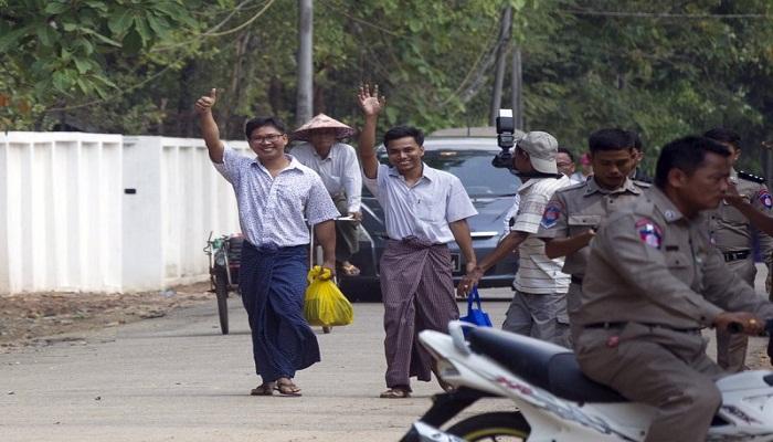 Myanmar frees 2 imprisoned Reuters reporters