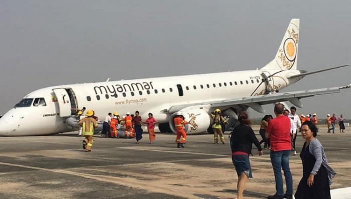 Myanmar Pilot lands plane without front wheels