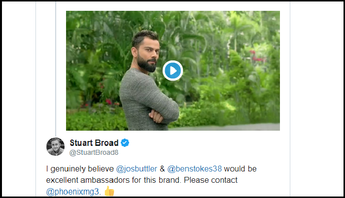 Stuart Broad Trolls Virat Kohli, Rishabh Pant for their new TV commercial