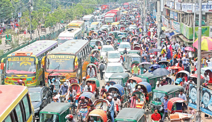 Vehicles get stuck in a traffic jam in the capital's New Market area on Tuesday