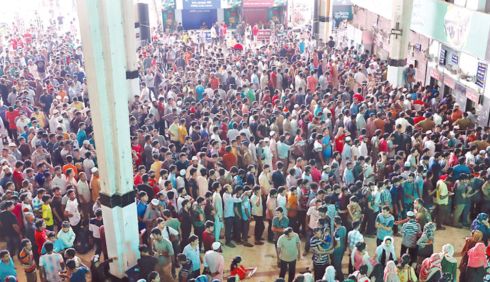 Kamalapur Railway Station on Friday to collect much-coveted tickets