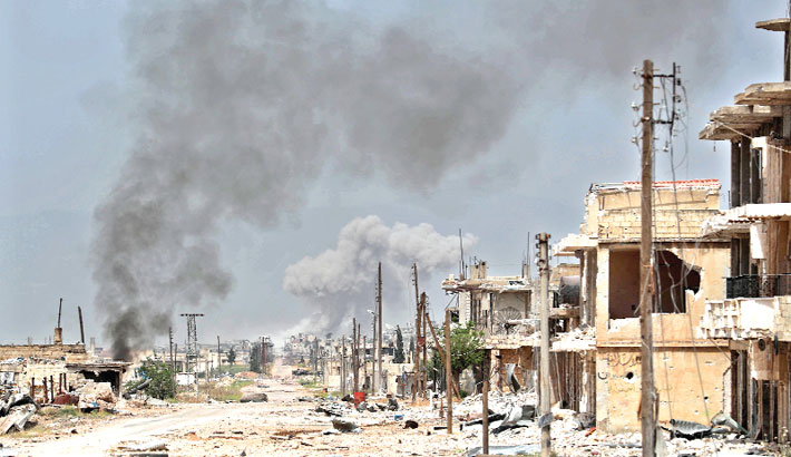 Smoke plumes billow following reported Syrian government forces