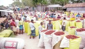 Traders put on display red chilies