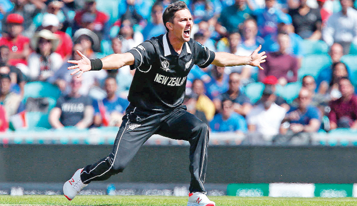 Trent Boult celebrates after taking a wicket