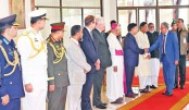 Ministers, chiefs of three services and government high officials receive President Abdul Hamid