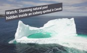 Drone captures stunning pool hidden inside an iceberg