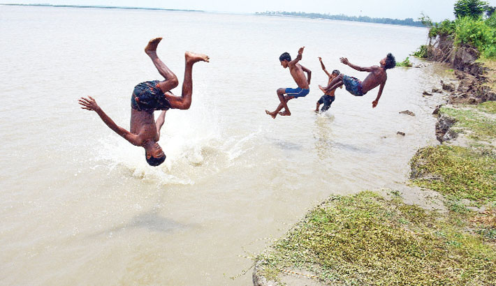 Some children are having a refreshing jump and taking fun