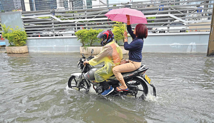 Flooded street after heavy rain at Bangkok in Thailand