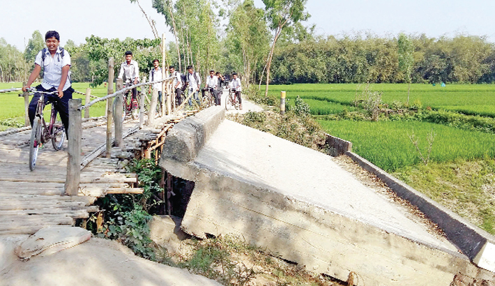 Students use a risky bamboo bridge to cross the canal