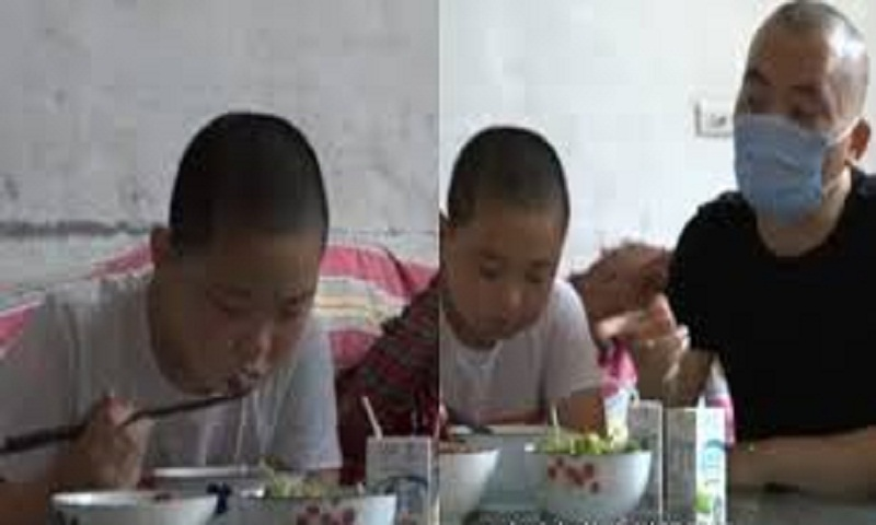 11-year-old boy eats five meals a day to save father's life