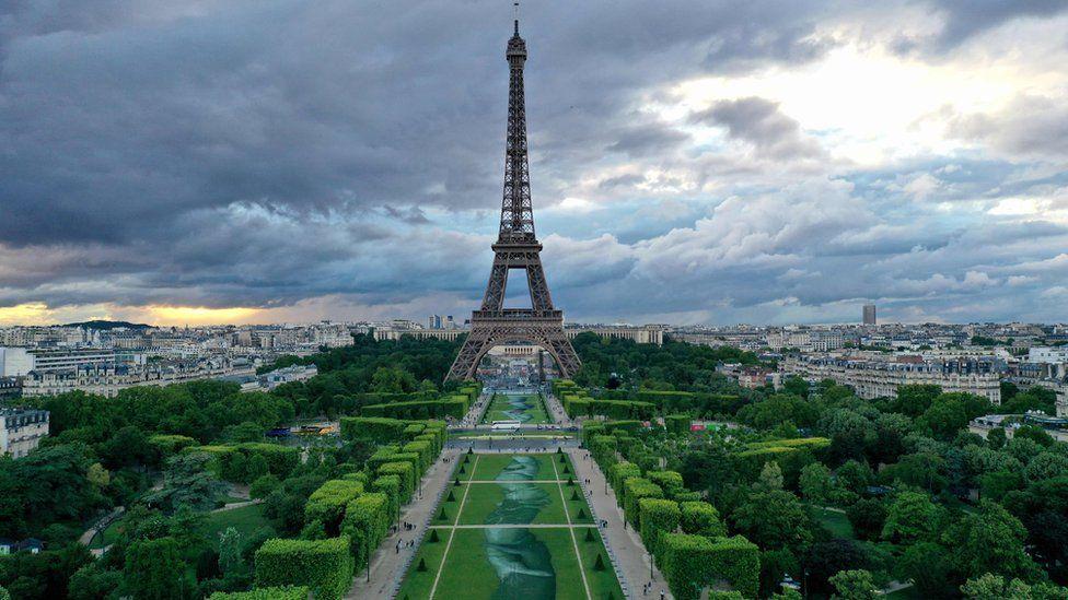Huge biodegradable artwork graces Paris park