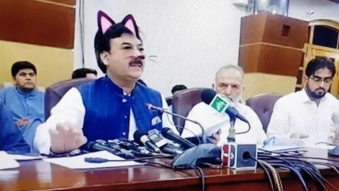 Cat filter accidentally used in Pakistani minister's live press conference