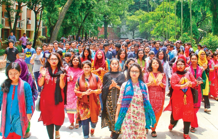 BUET students continue demo for 5th consecutive day
