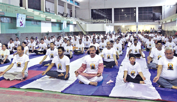 Yoga Day  observed  in Ctg