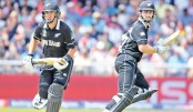 New Zealand captain Kane Williamson, right, and batsman Ross Taylor run between the wickets