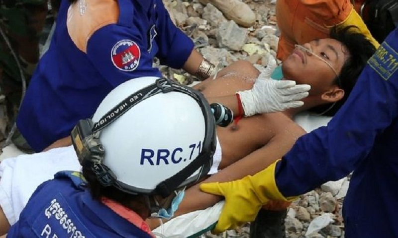 Cambodia building collapse: Two pulled alive from rubble
