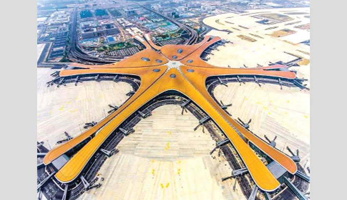 Giant airport set to open on eve of China's 70th birthday