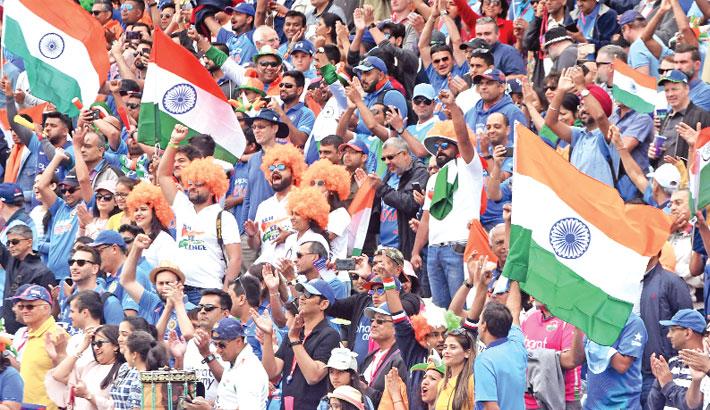 Indian spectators cheer in Birmingham