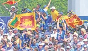 Sri Lankan supporters celebrate after a six