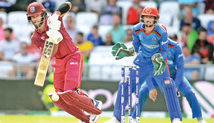 West Indies wicketkeeper batsman Shai Hope plays a shot during their 2019 Cricket World Cup