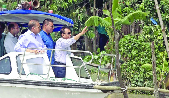 State Minister for Water Resources Colonel (Retd) Zahid Faruk visited different erosion-affected areas