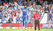 India pacer Jasprit Bumrah celebrates after taking a wicket