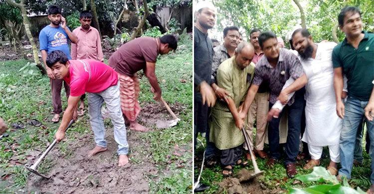 Party men prepare grave for Ershad in Rangpur