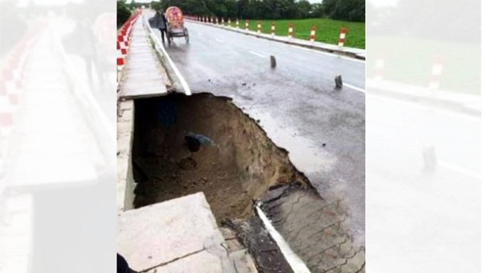 Approach road collapses in Chandpur within 6 months of its inauguration