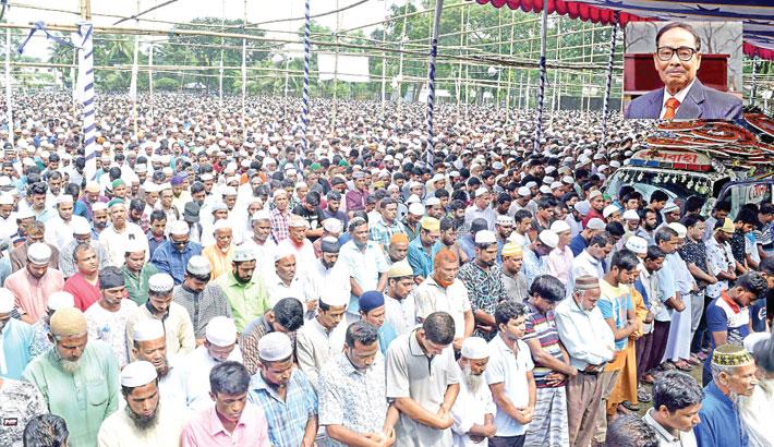 People attend the 4th namaz-e-janaza of JP Chairman HM Ershad