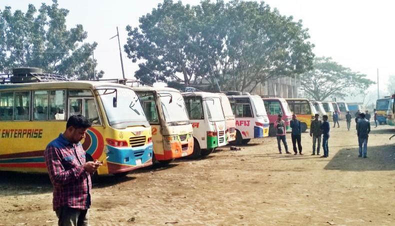Indefinite transport strike begins in Sirajganj