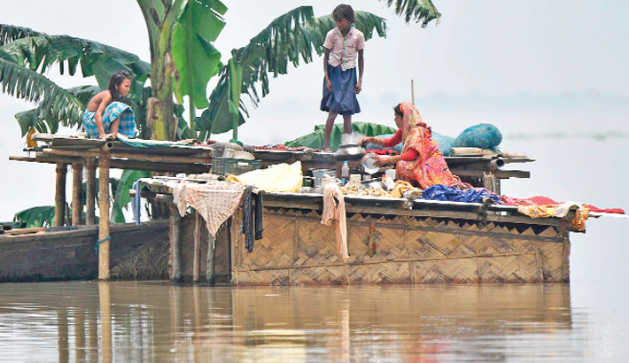 Flood affected area of Hatishila in Kamrup district of India's Assam state