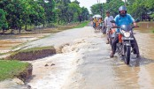 Flooded road following heavy monsoon rains