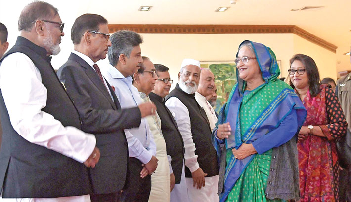 Ministers and other high civil and military officials see off Prime Minister Sheikh Hasina