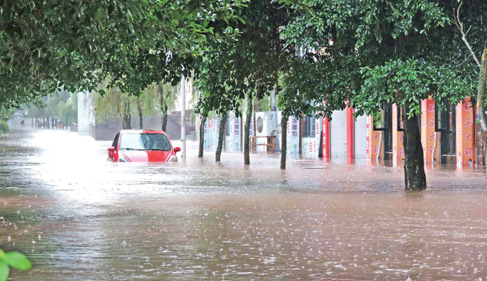 Flooded street in Dazhou City, in China