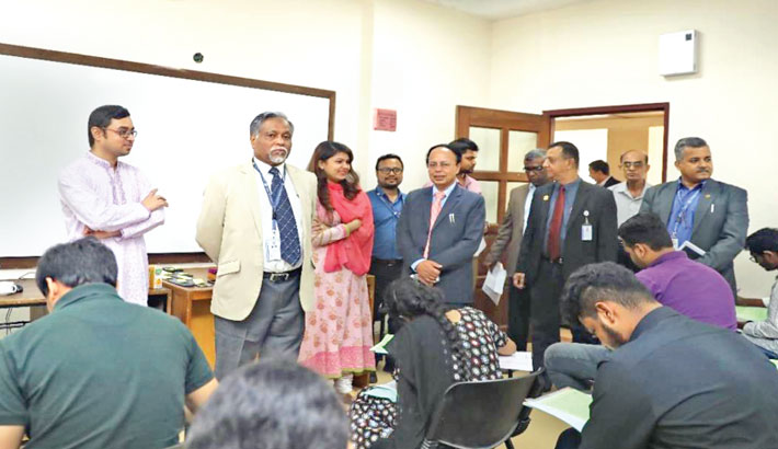 Vice Chancellor of North South University Prof Dr Atiqul Islam visits an exam hall