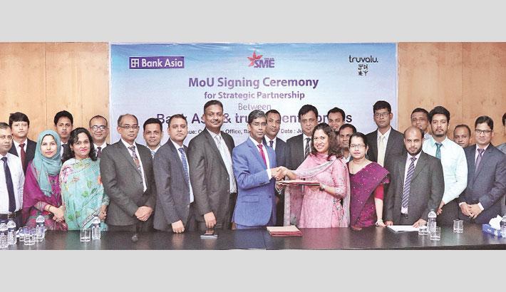 Bank Asia,  Truvalu.enterprises  sign deal