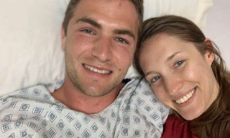 Newlywed wife rescues husband after volcano fall