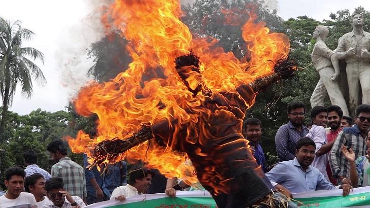 Dhaka University students burn effigies of health minister, Dhaka mayors