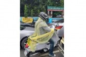Motorcyclist wears mosquito net, photo goes viral