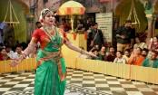 Hema Malini performs at Sri Radha Raman Temple on Hariyali Teej