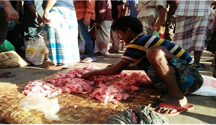 A makeshift beef bazaar in city that thrives on sacrificial meat
