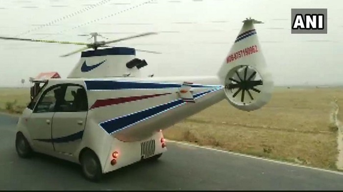 Indian youth turns Tata Nano into a 'helicopter'